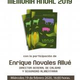 PRESENTACIÓN MEMORIA ANUAL LONJA AGROPECUARIA DE BINEFAR 2019